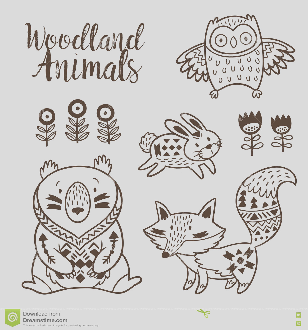 stock illustration decorative ornamental woodland animals vector set animal coloring pages kids hand drawn white background coloring book image
