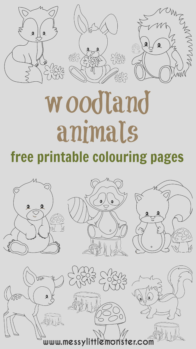 woodland animal colouring pages free