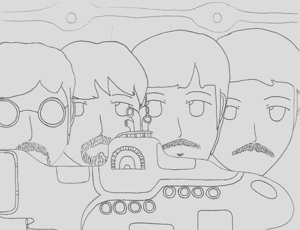beatles yellow submarine coloring pages sketch templates
