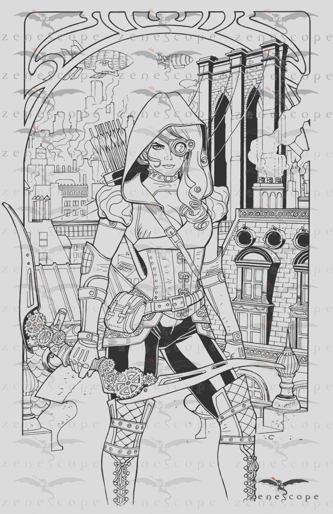 zenescope offers exclusive prints for red agent and grimm fairy tales steampunk