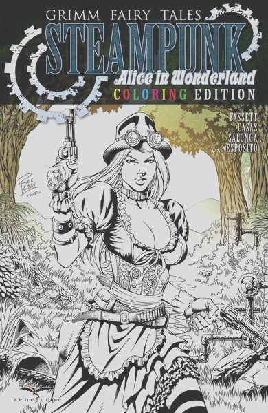 grimm fairy tales steampunk alice in wonderland one shot coloring edition