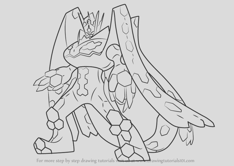 how to draw zygarde plete forme from pokemon sun and moon