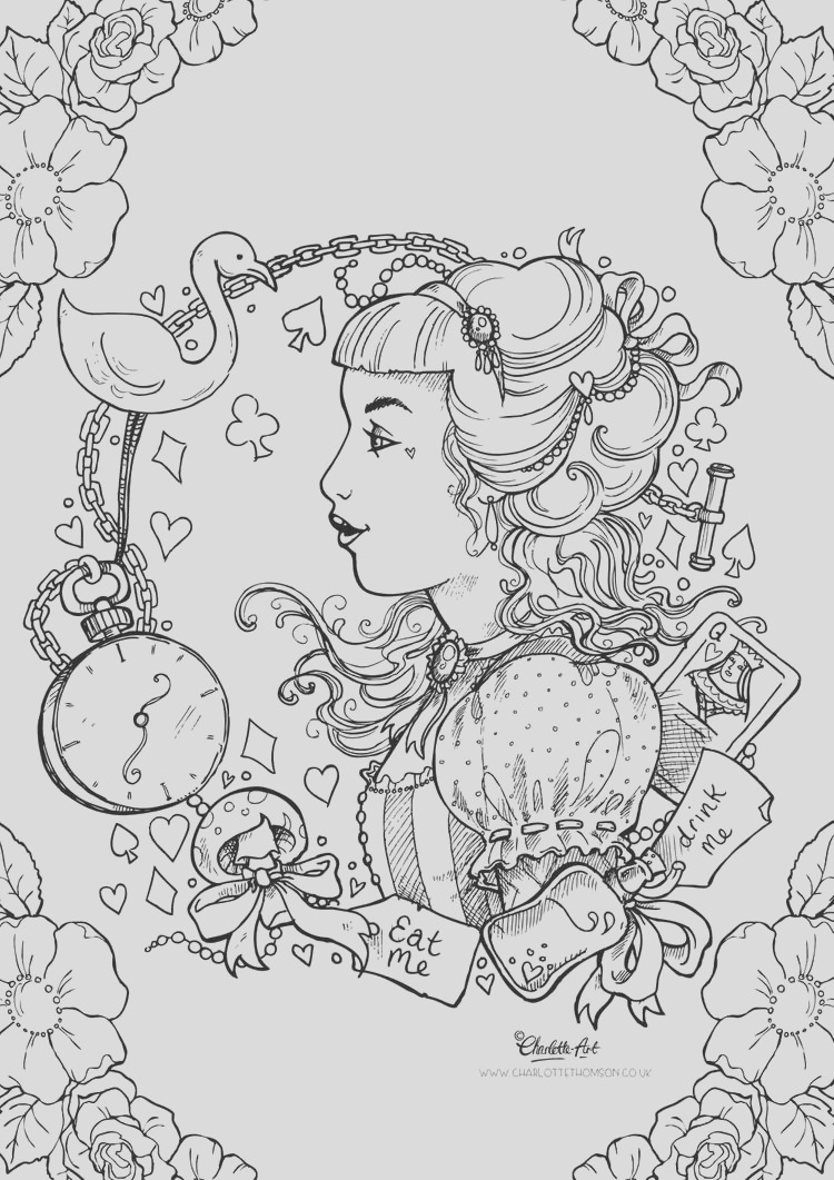 adult colouring page alice in wonderland