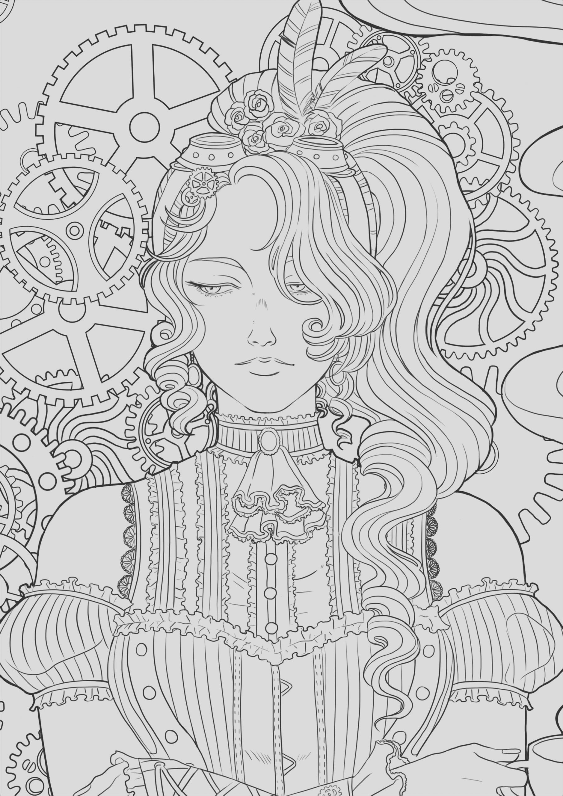 image=vintage coloring steampunk and coffee woman zoom 2 1