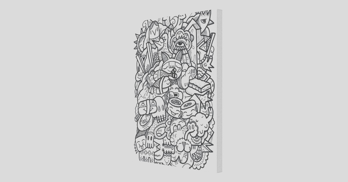characters color your own canvas adult coloring