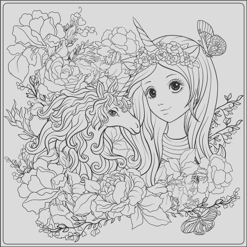 cute girl and unicorn in roses garden outline drawing coloring vector