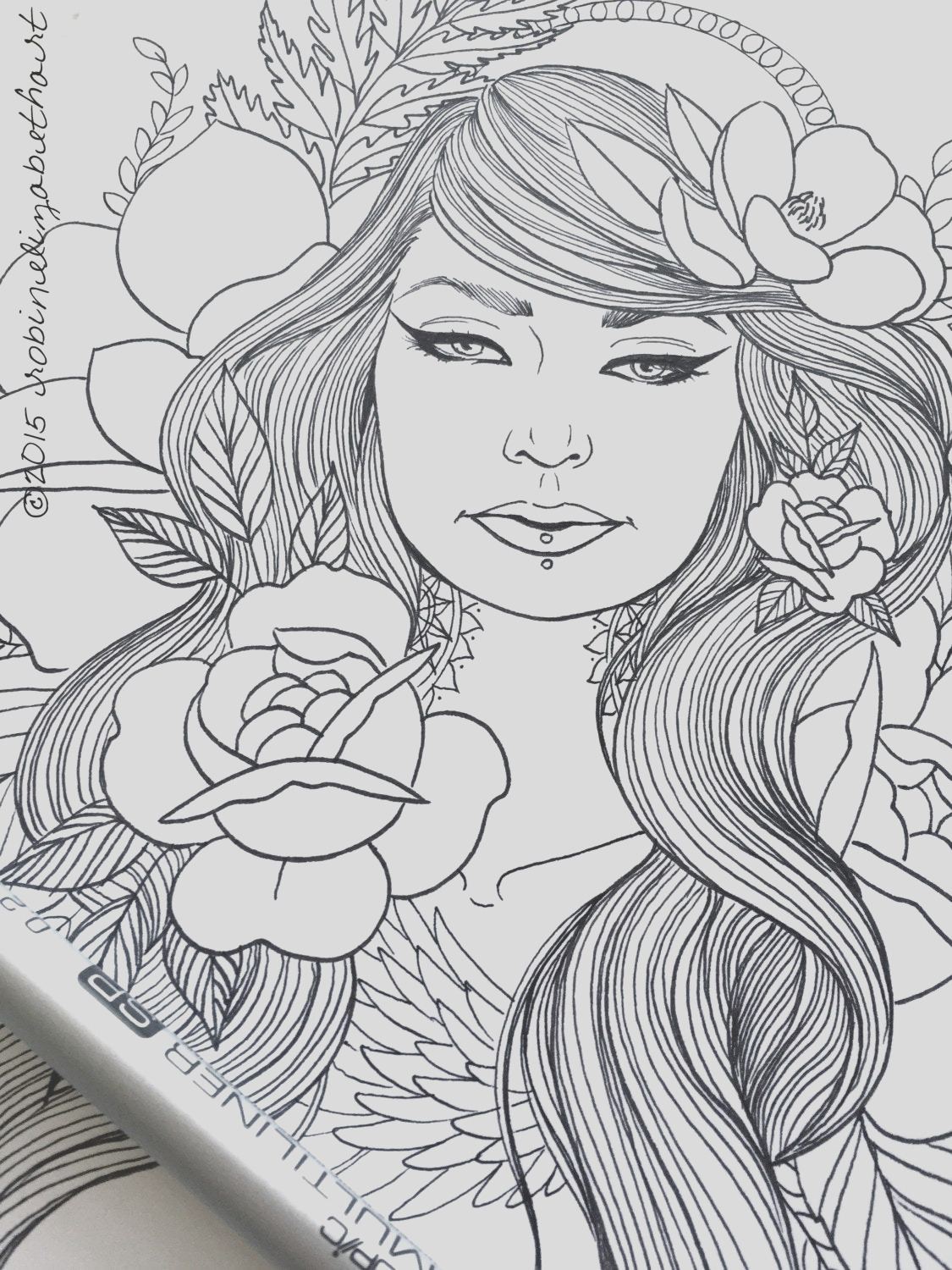 girls with tattoos pack adult coloring