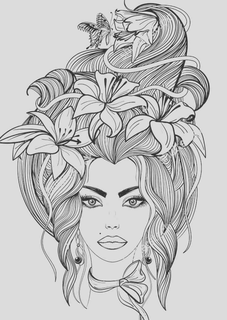 beautiful women coloring pages for adults