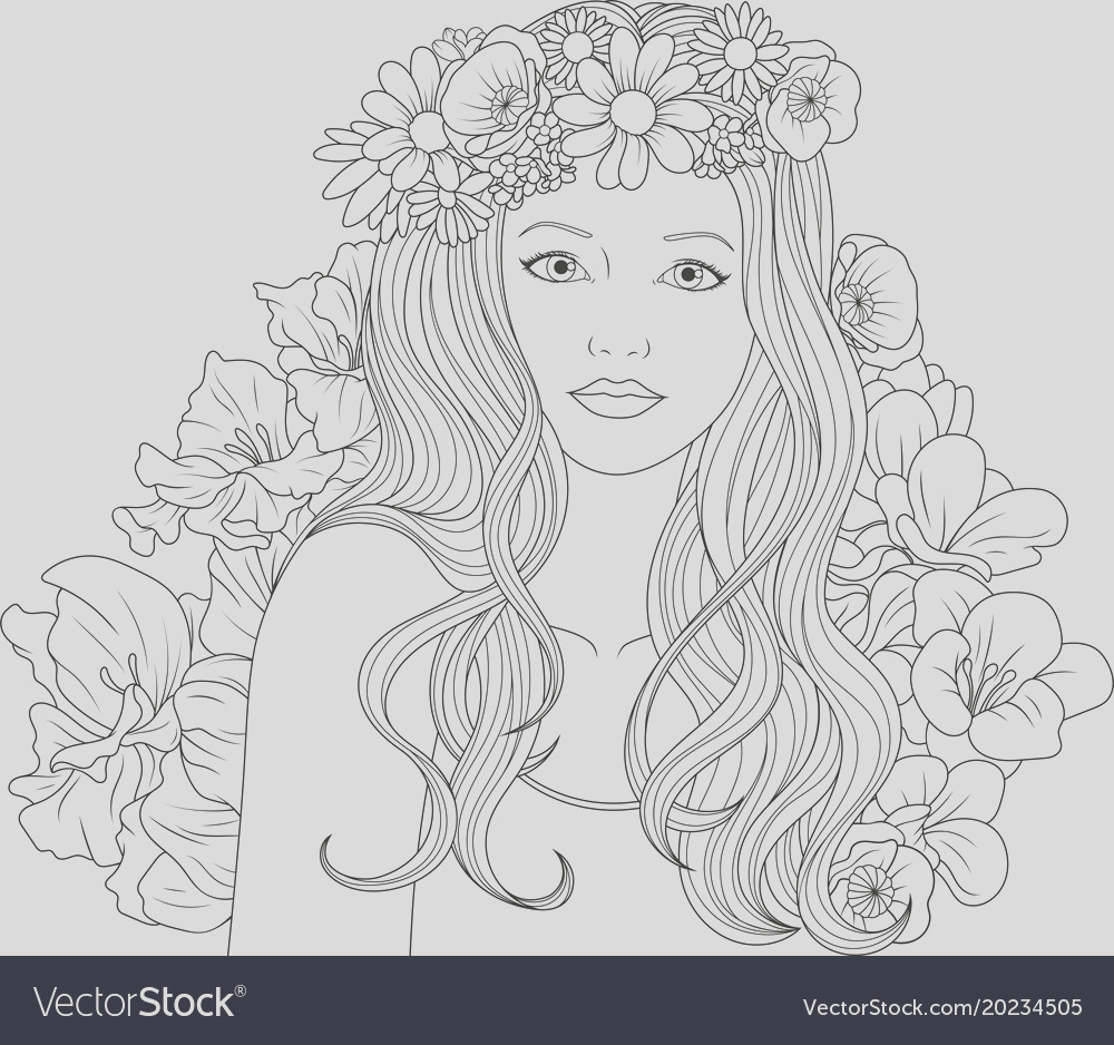 beautiful girl coloring pages vector