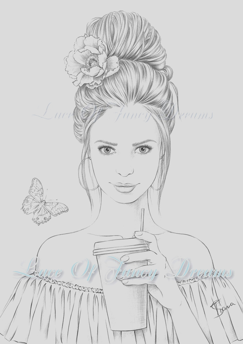 beautiful woman coloring page for adult