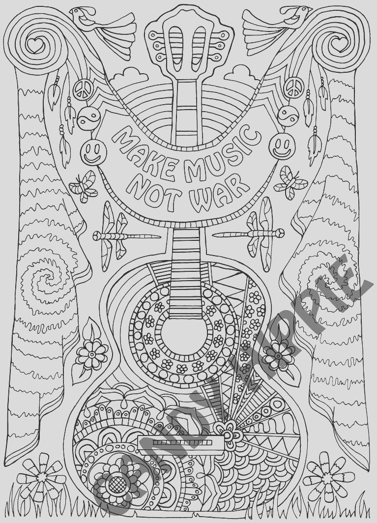 coloring page for adults make music