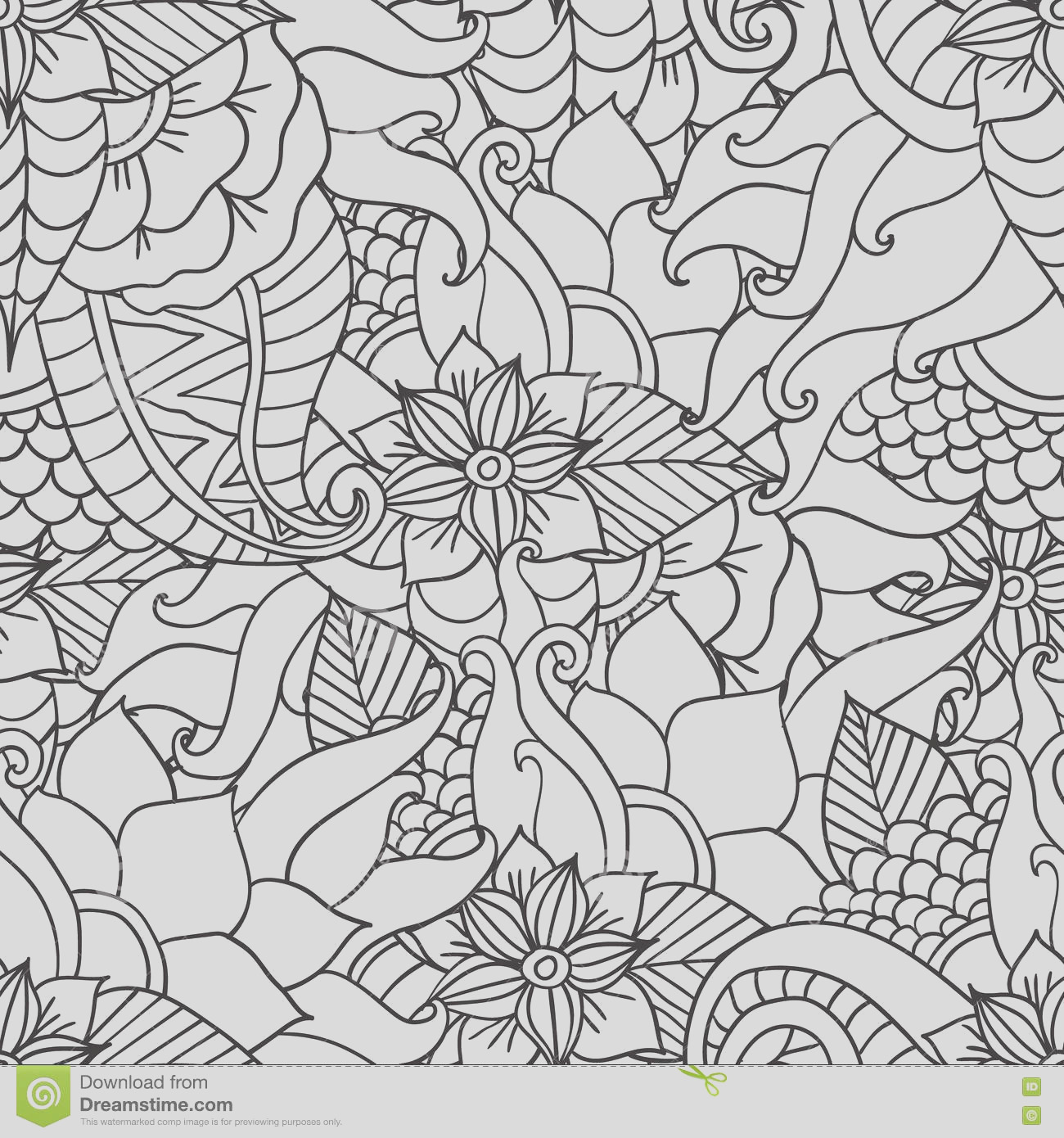 stock illustration coloring pages adults decorative hand drawn doodle nature ornamental curl vector sketchy seamless pattern artistic ethnic image