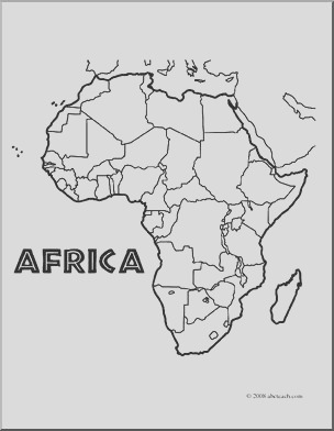 clip art africa map coloring page unlabeled i abcteach