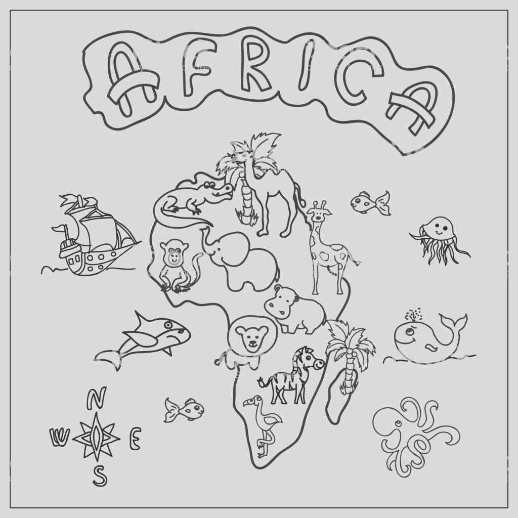 africa continent kids map coloring page gm