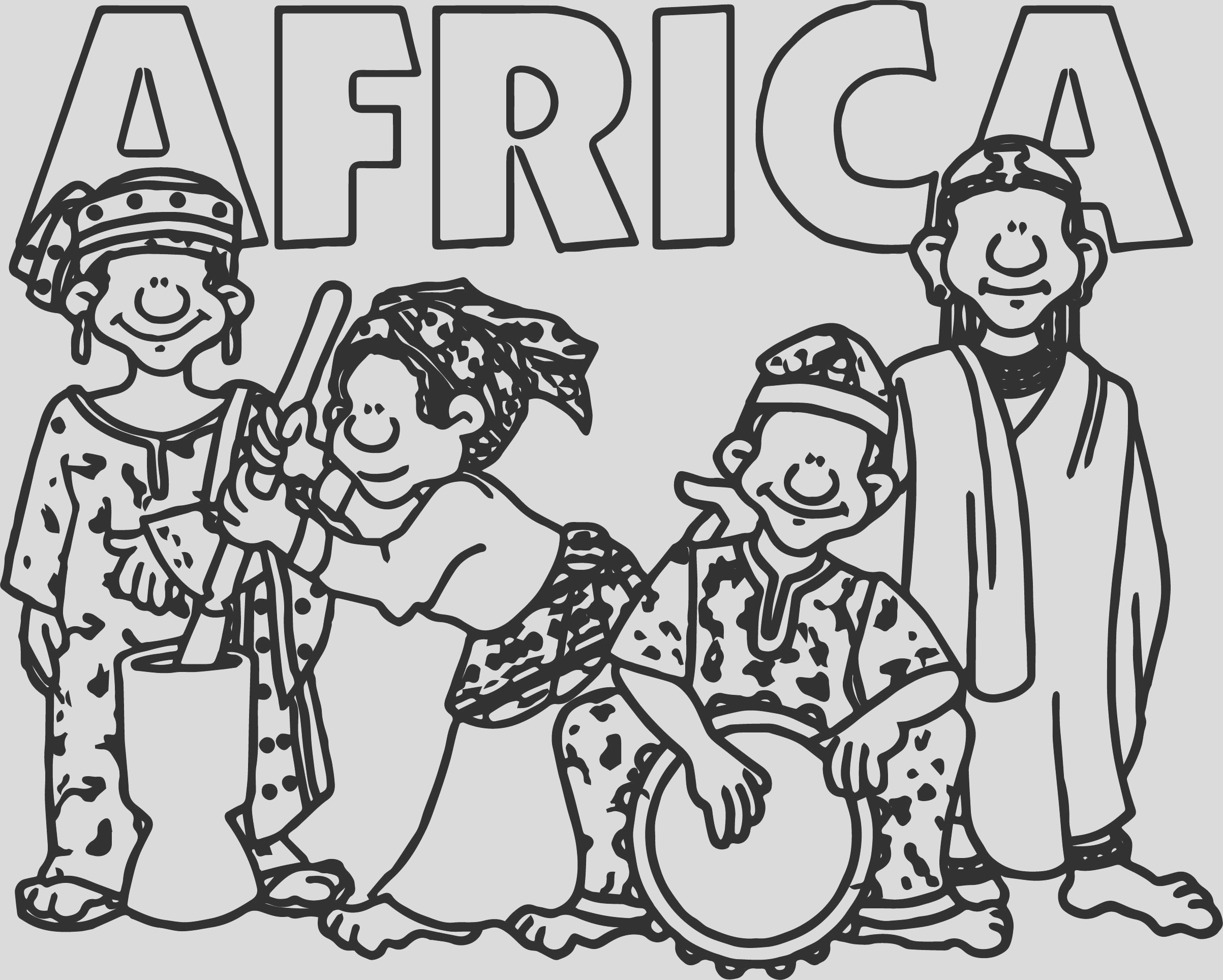 african wel e group coloring page