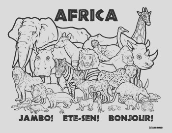 Africa Wildlife Coloring Page