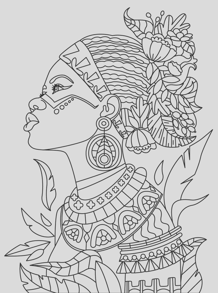african queen adult coloring page