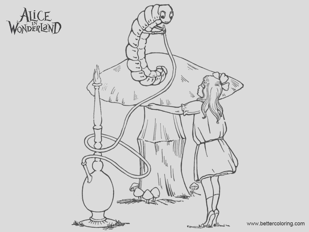 alice in wonderland caterpillar coloring pages