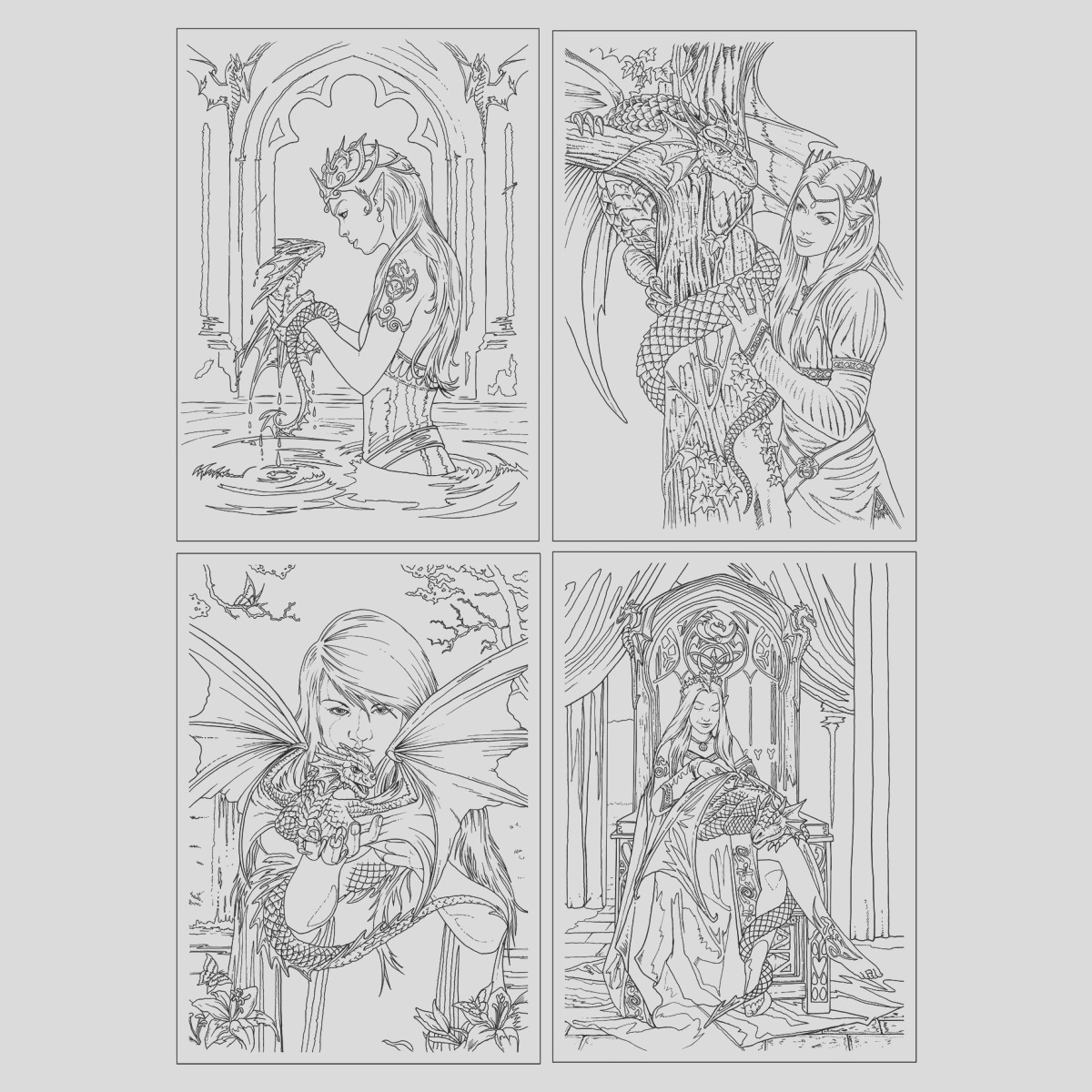 anne stokes colour in cards dragon friendship set fantasy art colouring greetings cards