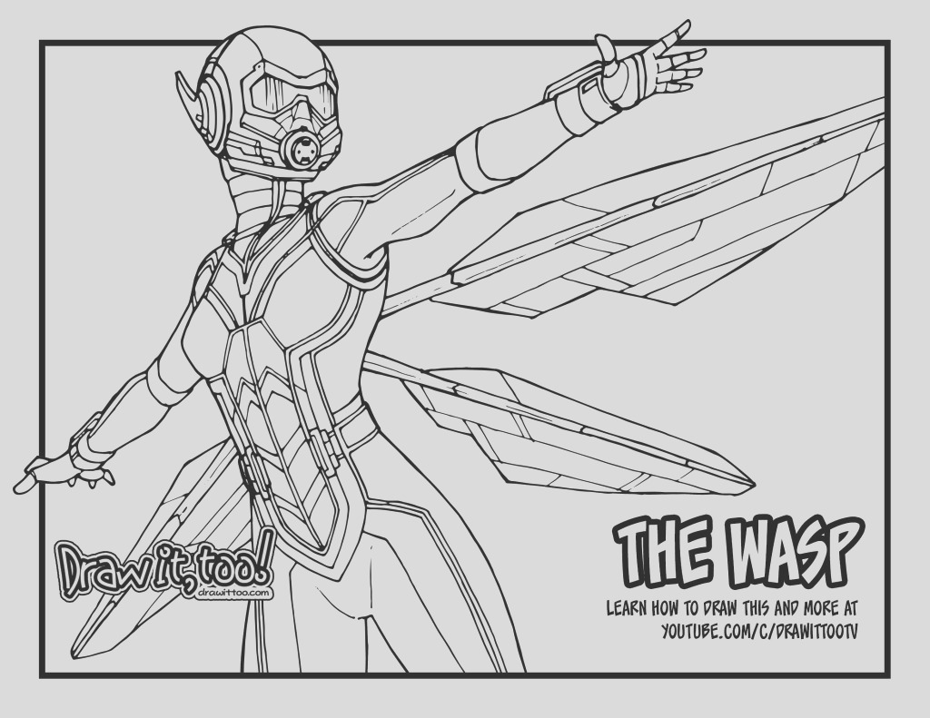 how to draw the wasp ant man and the wasp drawing tutorial