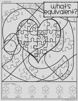 Autism Awareness Simplify Fractions Coloring page no prep