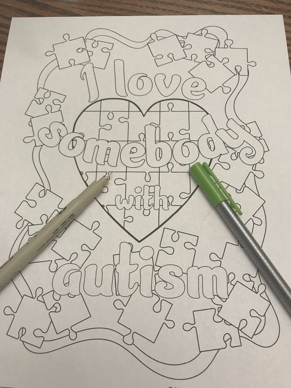 coloring page i love somebody with