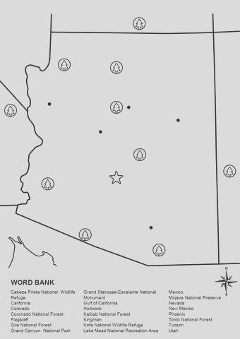 arizona map worksheet