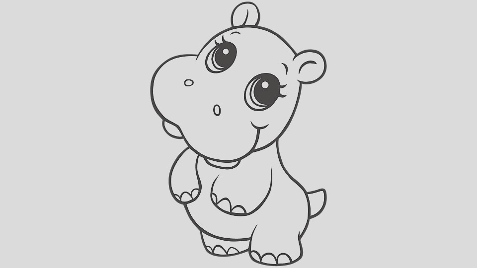 baby animal coloring pages hippo