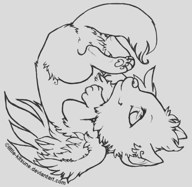 Winged Wolf Cub Lineart