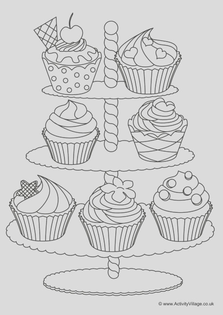 cupcakes colouring page 4