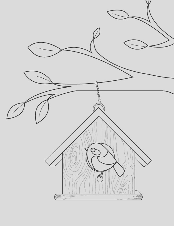 birdhouse coloring pages