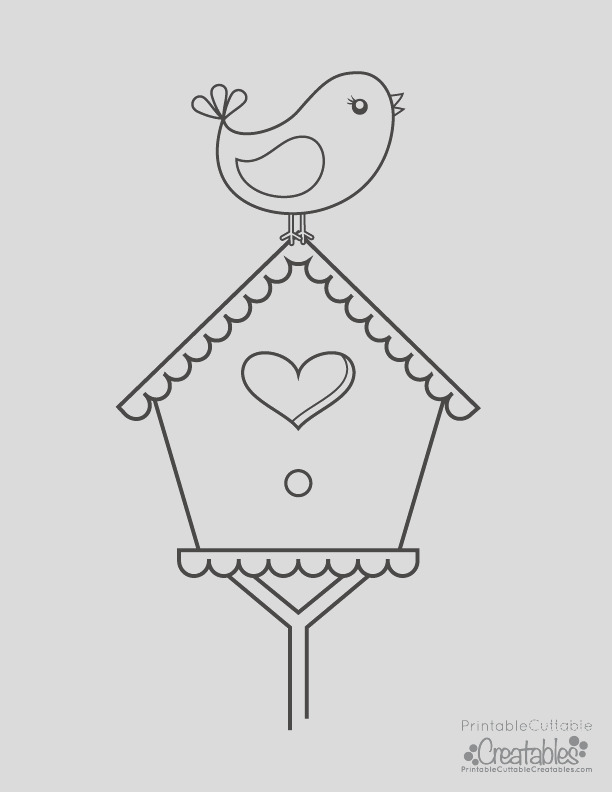 bird perched on birdhouse free printable coloring page