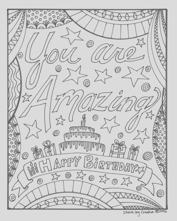 happy birthday coloring page you are
