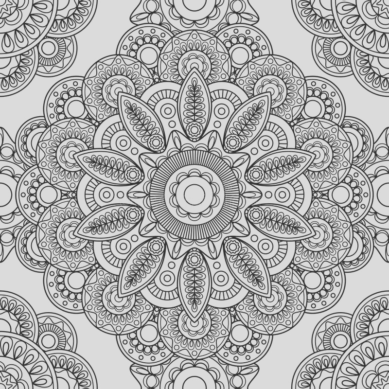 stock illustration boho doodle seamless pattern hand drawn coloring pages adults vector illustration image