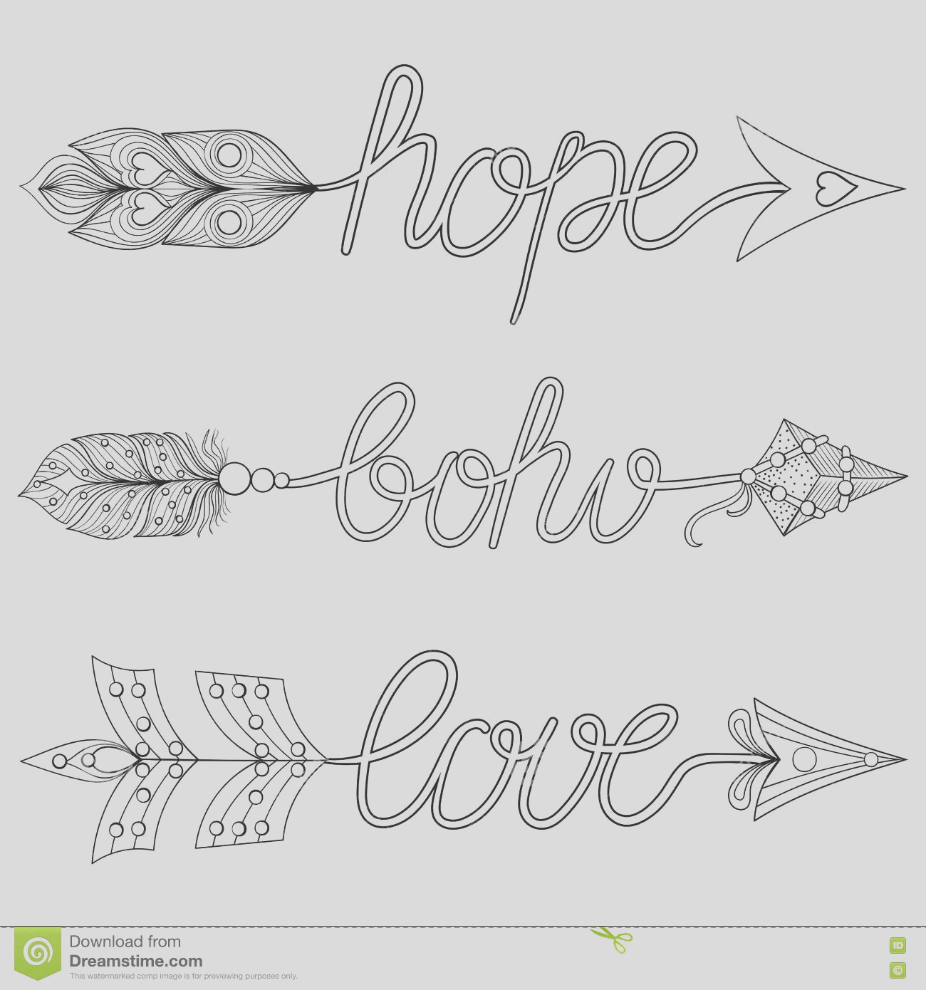 stock illustration bohemian arrows signs boho love hope feathers decorativ decorative adult coloring pages art therapy ethnic patterned t image