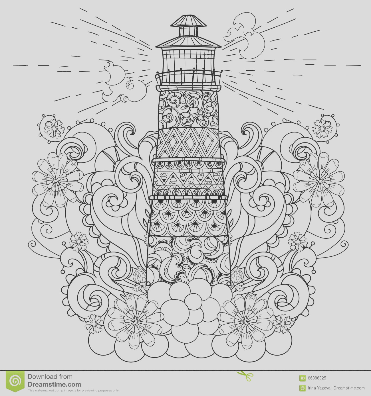 stock illustration hand drawn doodle outline lighthouse boho decorated floral ornaments vector zentangle illustration floral ornament sketch image
