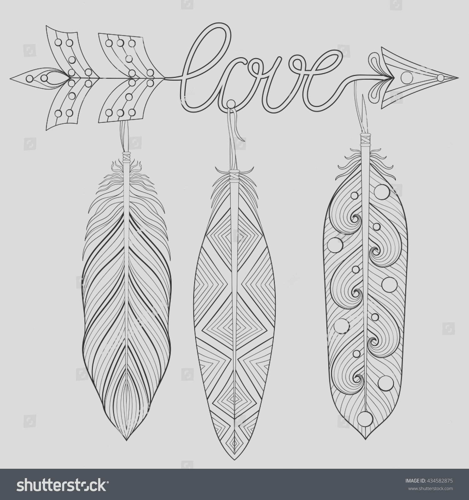 stock vector bohemian arrow hand drawn amulet wih word love and feathers esoteric decor for adult coloring