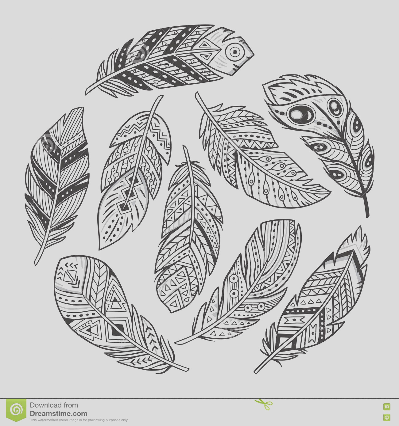 stock illustration outline set abstract boho feathers white background vector tribal indian aztec hipster adult coloring book page image