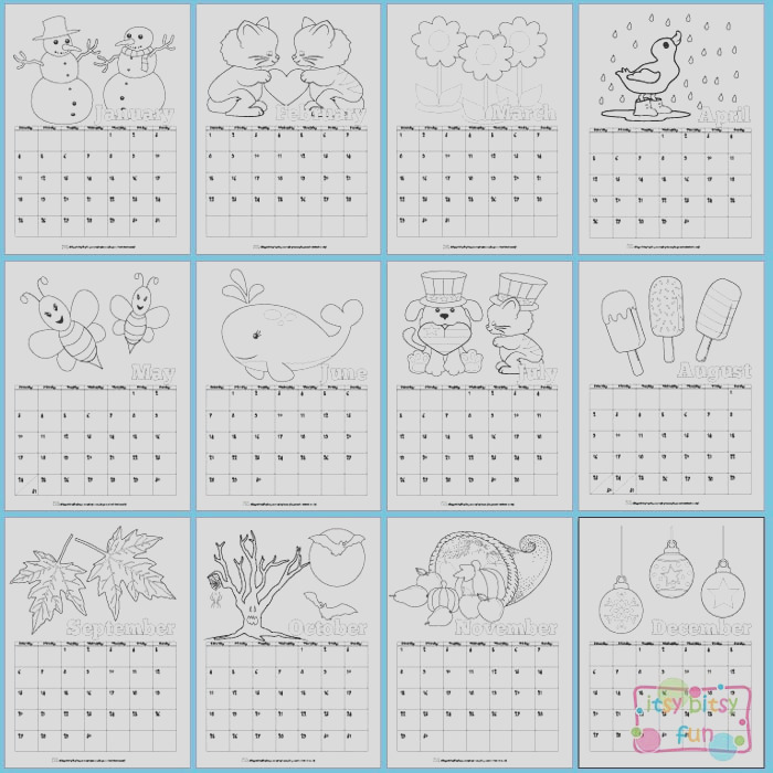 coloring page calendar for kids