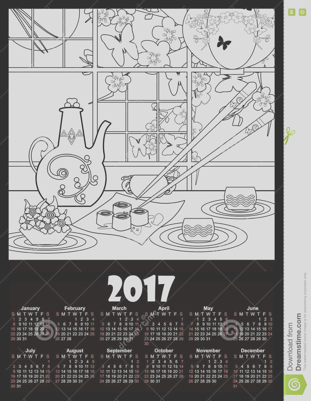stock illustration calendar template sushi flowers coloring page kids adults image