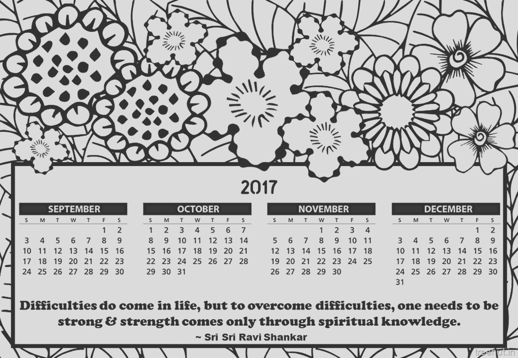 Free Printable 2017 Calendar Coloring Pages
