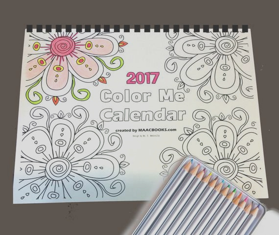 calendar 2017 color coloring book for