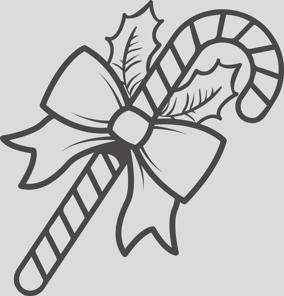 big candy cane coloring page with ribbon and holly a4219