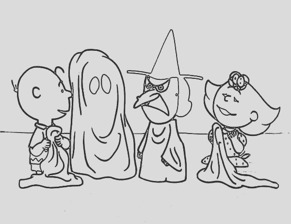 halloween peanuts charlie brown coloring page