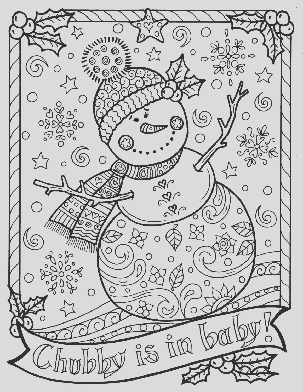 snowman coloring page chubby christmas