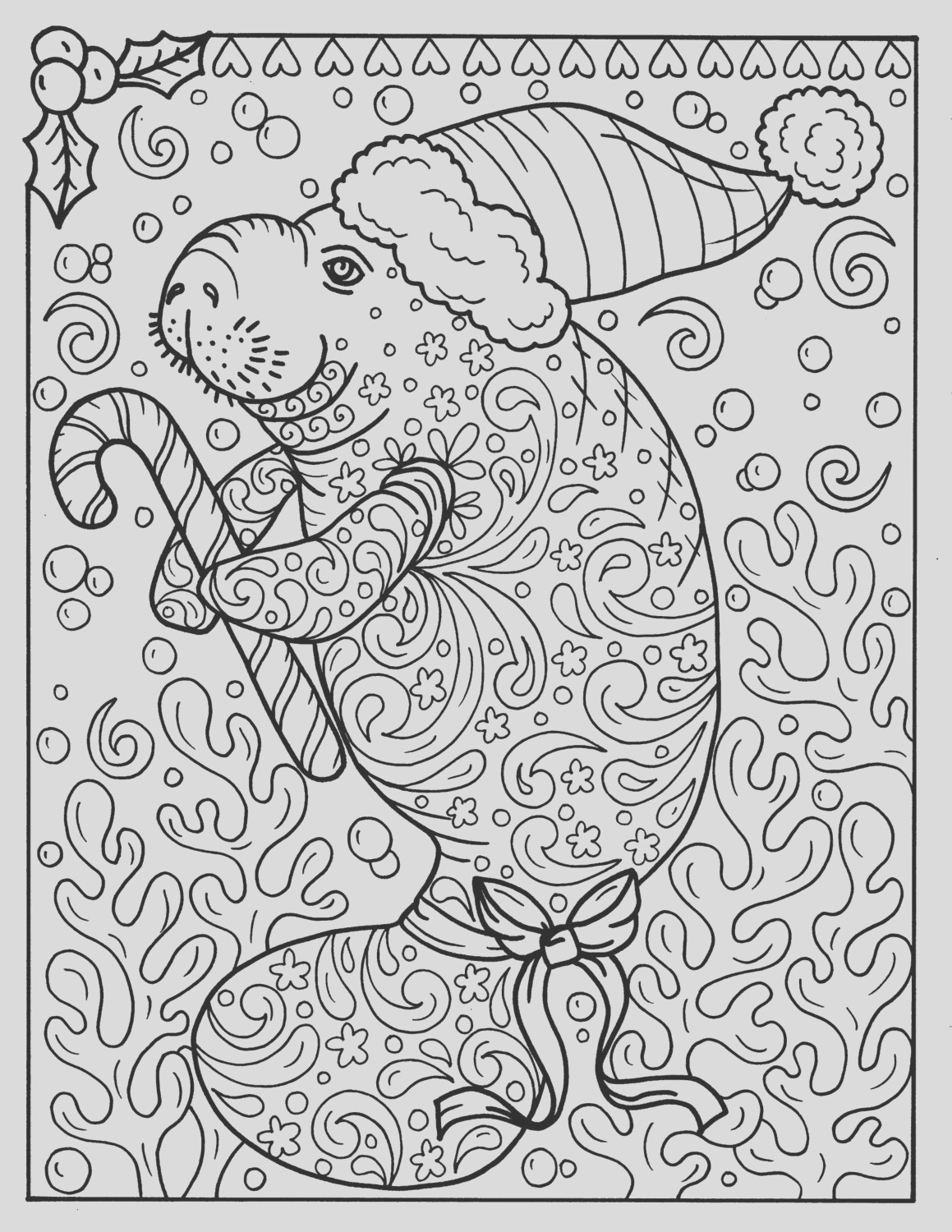 manatee christmas coloring page instant
