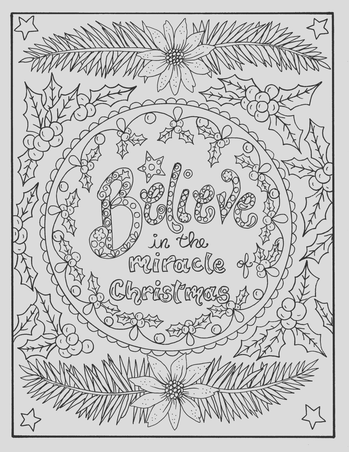 christmas coloring page believe in the