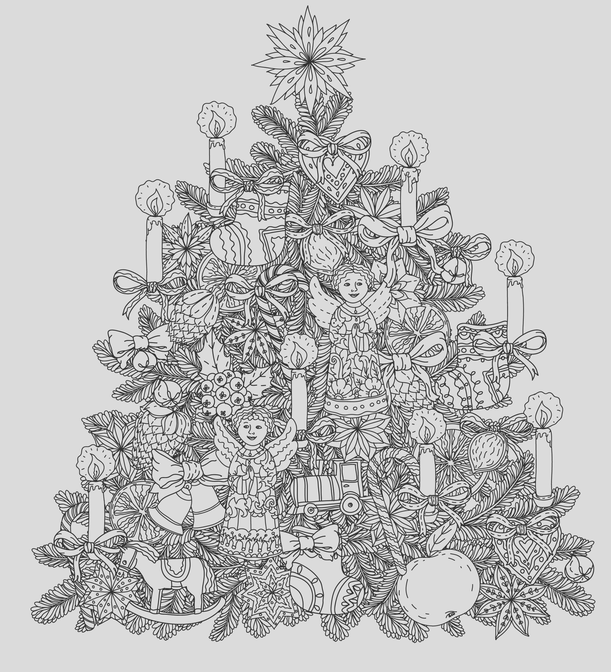 christmas adult coloring pages image=events christmas coloring adult christmas tree with ornaments by mashabr 1