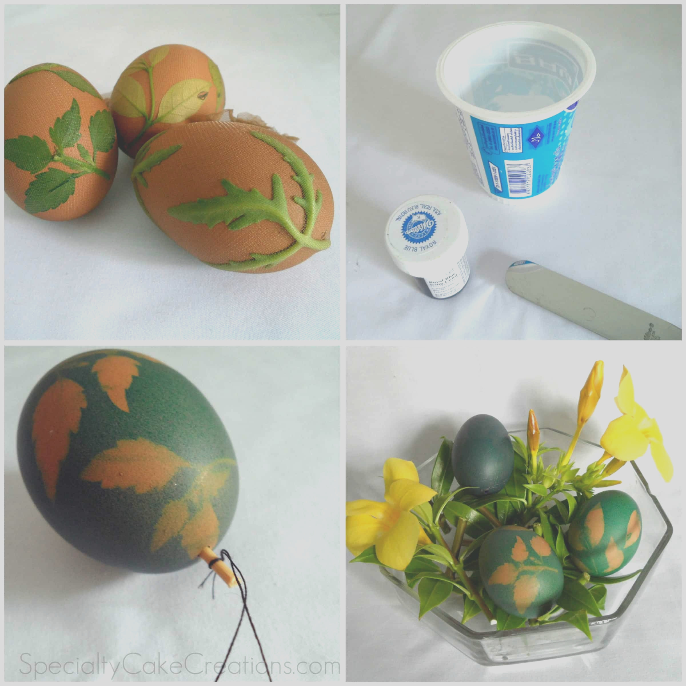 leaf print easter eggs with food coloring
