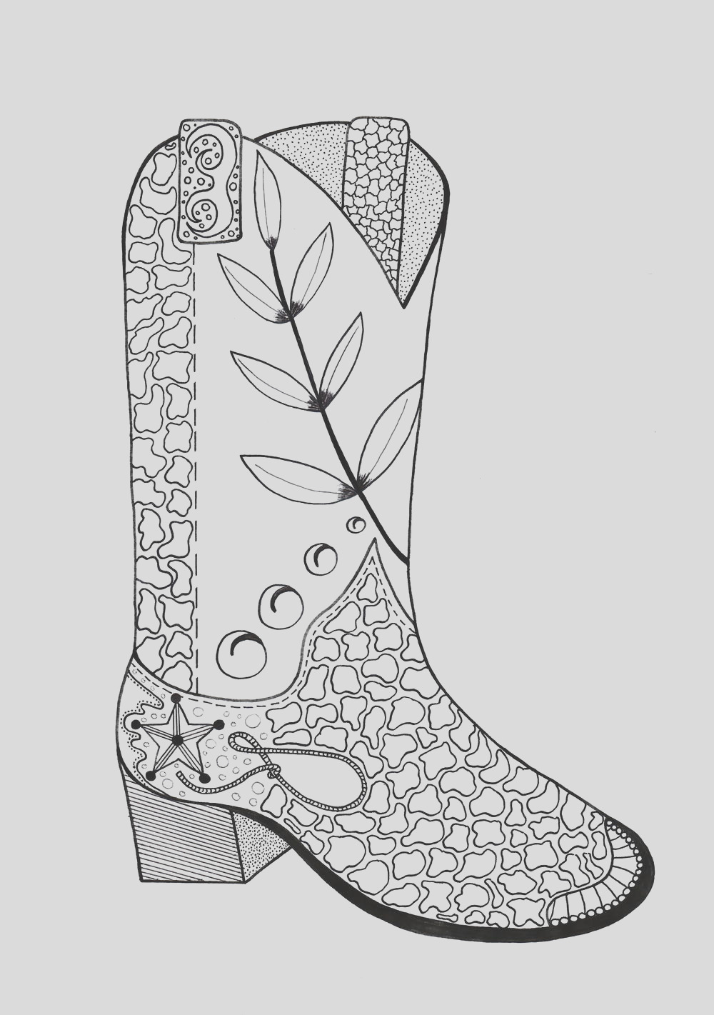 Cowboy Boot Adult Coloring Page